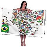 COLIVY Polandball Countryball World Map Beach Towel Microfiber Bath Towels Super Absorbent Towel for The Travel, Swimming, Sports, Beach, Spa and Gym