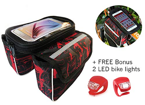 Mountain Pannier - Pro Image Bike Waterproof Phone Holder Front Bag Mountain Bicycle Frame Travel Storage Bag | Pannier Plus a Free Bonus 2 LED Lights