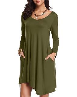 4b6820f67213 JollieLovin Women's Long Sleeve Pockets Loose T-Shirt Dress Asymmetrical Hem