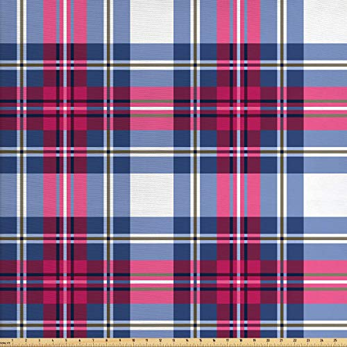 Ambesonne Plaid Fabric by The Yard, Classical British Tartan Design with a Modern Look Pink and Blue Tile Pattern, Decorative Fabric for Upholstery and Home Accents, 2 Yards, Blue Pink Grey