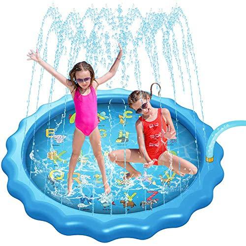 Gulymm 防溅垫泳池,适用于儿童或宠物的洒水器适用于儿童户外玩具,带 A-Z 字母,夏季热天后院游戏,1 – 12 岁儿童户外活动(66.9 英寸)