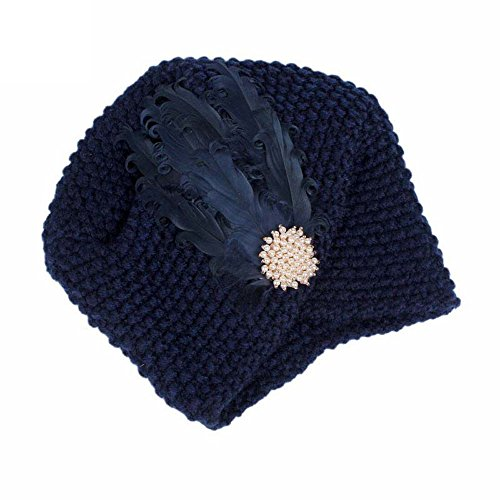 URIBAKE Women's Knitting Wool Crochet Hat Beanie Turban Head Ladies' Wrap Cap Pile -