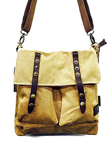 Canvas Messenger Bag – Crossbody Purse, Shoulder, Small Laptop Bag for Women and Men – Vintage Style - Army Green