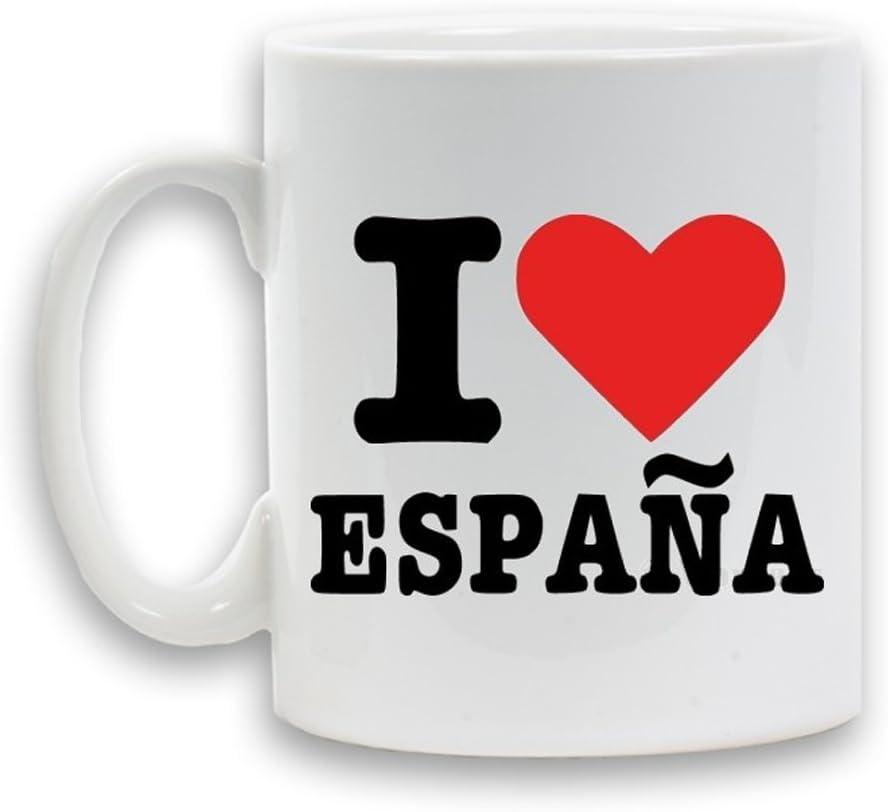 Me encanta Espana (España) impresa taza de cerámica 11 oz de regalo de la novedad de café té envase de bebidas: Amazon.es: Hogar