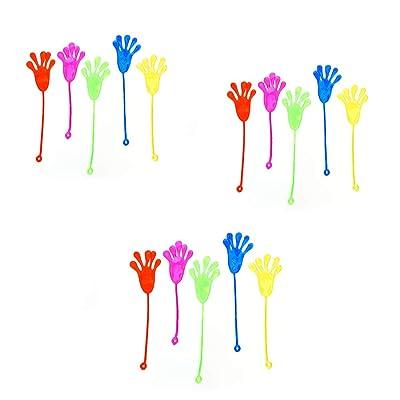 15 Party Pack mano pegajosa favores de Wacky elástico del brillo pegajoso manos pegajosas Finger Juguetes sensoriales para los niños, fiesta de cumpleaños de color al azar: Juguetes y juegos
