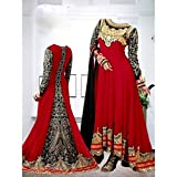 red embroidary gerogettes semi stitched salwar suit