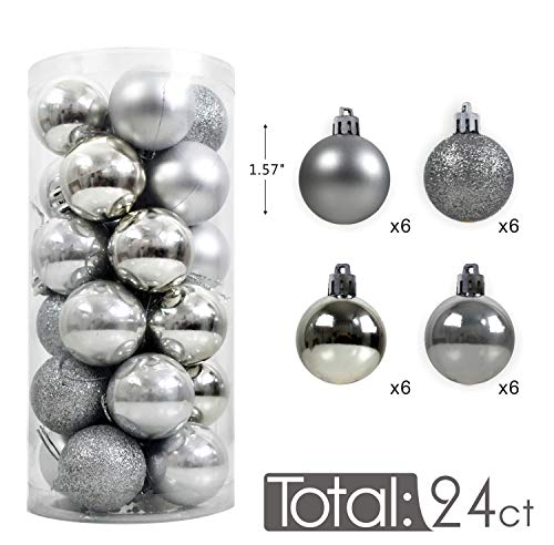 AUXO-FUN 1.57 24ct shatterproof Christmas Ball Ornaments in 4 Classic finishes (Glossy, Glitter, Matte, and Pearly Luster) for Christmas Tree Decoration (Silver)