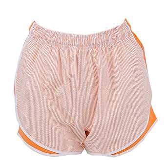 Lauren James Seersucker Shorties Orange/White XS Womens Shorts
