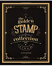 The Golden Stamp Collection Album: Stamp album for collectors, kids and adults, large Vintage stamp album stockbook - Cream paper