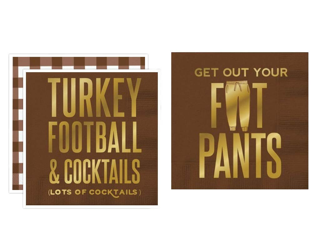 Slant Collections Thanksgiving Holiday Paper Beverage Cocktail Napkins, Set of 2 Packages of 20 (Turkey Football)