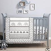 Elephant Walk 4-Piece Jungle Geometric Chevron Grey Baby Crib Bedding Set by Belle