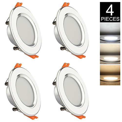 - GALYGG 3 Color Changing LED Downlight, Recessed Lighting Trim Conversion Kit, 3 Inch Ceiling Fixture Light, 280LM 3000K-6500K 4W ( 25W Equivalent ) for Under Cabinet Kitchen Bedroom, White - 4 Pack
