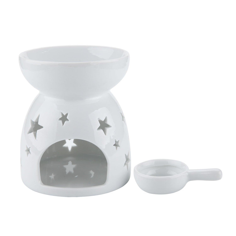 Rachel's Choice Ceramica Bruciatore di Oli Essenziali per Aromaterapia Lampada dell'aroma Portalume Tealight per Diffusore Bianco Confezione da 2 Mucihom