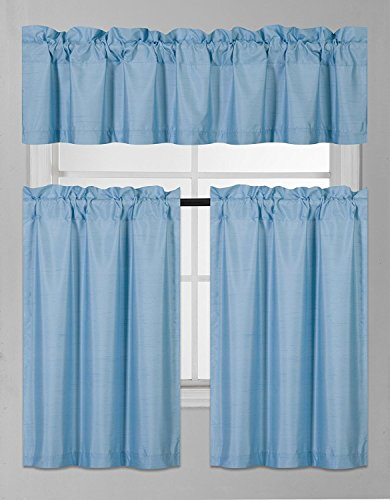 Elegant Home Collection 3 Piece Solid Color Faux Silk Blackout Kitchen Window Curtain Set with Tiers and Valance Solid Color Lined Thermal Blackout Drape Window Treatment Set #K3 (Light Blue)