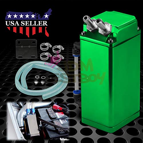 - JDMBESTBOY Green High Capacity Square Billet Aluminum Engine Oil Catch Tank Reservoir Breather Can