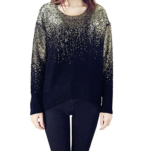 Womne Gold Oversized Loose Knitted Pullovers Sweater Tops