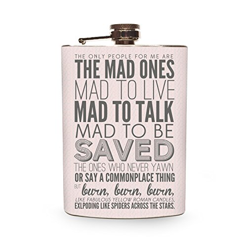 The Mad Ones Flask Stainless Steel 8oz Silver Metal Hip Flasks Jack Kerouac Quote for Drinking Vodka Whiskey Gin Bourbon Weddings Gifts - Gift Box