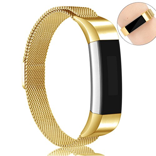 AK For Fitbit Alta HR Bands Milanese Stainless Steel Small Large Magnetic Closure, Adjustable Alta HR/Alta Accessories Metal Bands Straps for Fitbit Alta HR 2017/Fitbit Alta 2016 (Gold, Small)