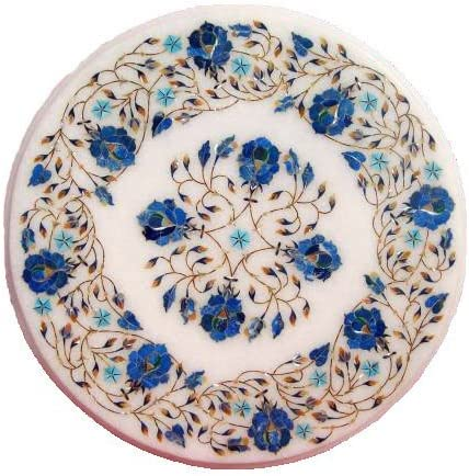 15 Round Handcrafted Indian Marble Pietre Dure Pietra Dura Coffee Corner Table Top No Stand