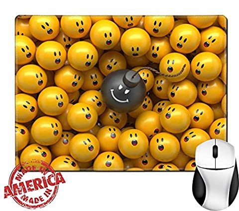 """Luxlady Natural Rubber Mouse Pad/Mat with Stitched Edges 9.8"""" x 7.9"""" 3d abstract balls background demographic chart terror panic concept IMAGE (Bomb Panic)"""