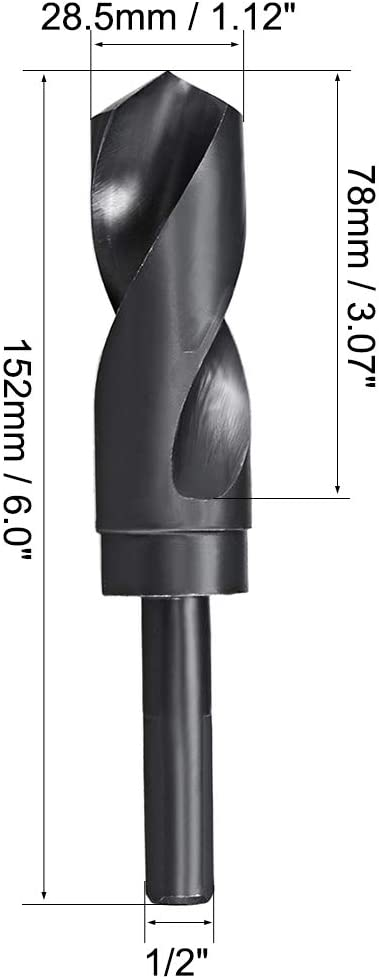 uxcell 16.5mm Reduced Shank Drill Bit HSS 6542 Black Oxide with 1//2 Inch Straight Shank