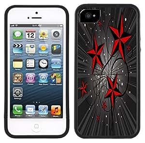 Red Nautical Stars Tattoo Handmade iPhone 5 5S Black Case