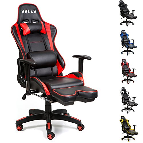 HULLR Gaming Racing Computer Office Chair With Foot Rest, Executive High Back Ergonomic Reclining Design With Detachable Lumbar Backrest & Headrest (PC PS4 XBOX Laptop) (Black/Red) by HÜLLR