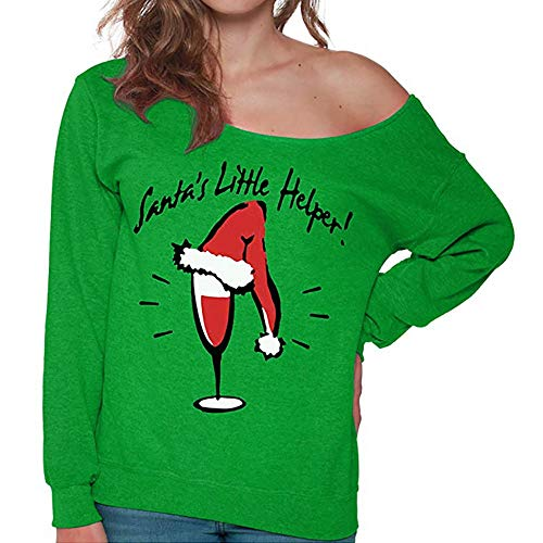 Sunhusing Womens Fashion Christmas Letter Print Off-Shoulder Long Sleeve Blouse Sweatshirt Tops Shirt