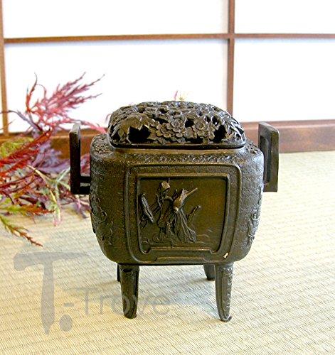 ブロンズ正方形Incense Burner with Maple , Cherry Blossom and Dragon motives B0028UYGXM