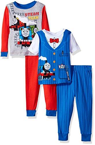 Nickelodeon Baby Boys' Thomas The Train 4-Piece Cotton Pajama Set, Thomas Blue, - Conductor Thomas Train