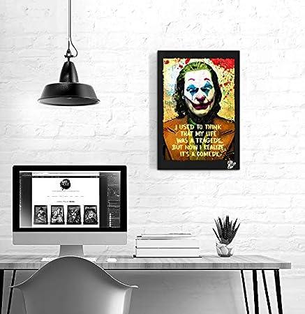 Amazon Com Arthur Fleck Joaquin Phoenix From Joker 2019 Movie Pop Art Original Framed Fine Art Painting Image On Canvas Artwork Movie Poster Posters Prints
