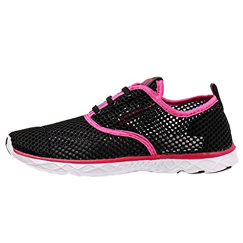 Aleader Womens Quick Drying Aqua Water Shoes Black/Red 10 D(M) US