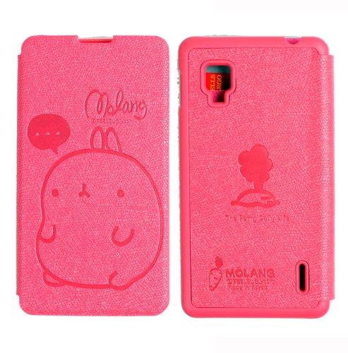 MOLANG Premium Leather Flip Case Cover For LG OPTIMUS G LS970 SPRINT (HotPink)