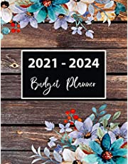 """2021-2024 Budget Planner: 48 Months Large Calendar Budget Notebook 8.5"""" x 11"""". Daily and Monthly Budgeting Journal. Flowers on Wood frame Cover Four Year Expense Tracker Organizer"""