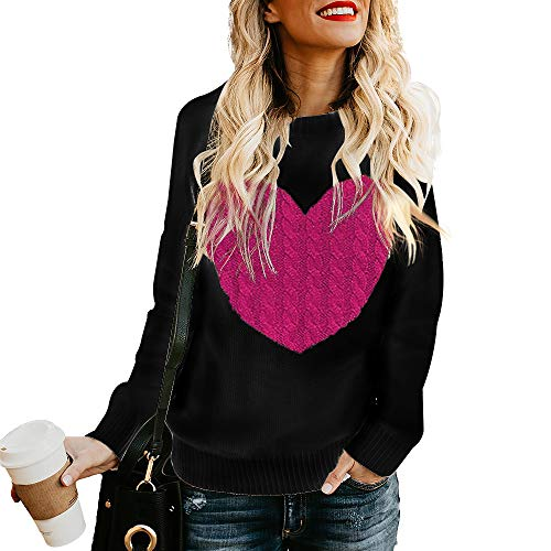 Exlura Women's Casual Sweater Heart Pattern Patchwork Pullover Long Sleeve Crew Neck Knits Loose ()