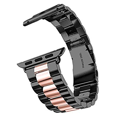 Rosa Schleife Band for Apple iWatch 42MM, Apple Watch Band 42 Stainless Steel Metal Replacement Watch Strap Link Bracelet Wrist Band for Apple Watch Series 2 Series 1 42mm (Not Fit 38mm Version)