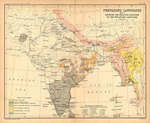 India South Asia Languages - Non-Aryan  Dravidian Tibeto-Burman Munda -  1909 - Old map - Antique map - Vintage map - Printed maps of India