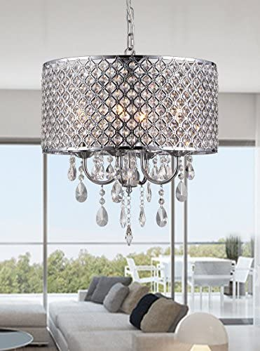 Whse of Tiffany SU7139-4CR Oisetta 4 Light Crystal Round Chandelier, 17 , Chrome Finish