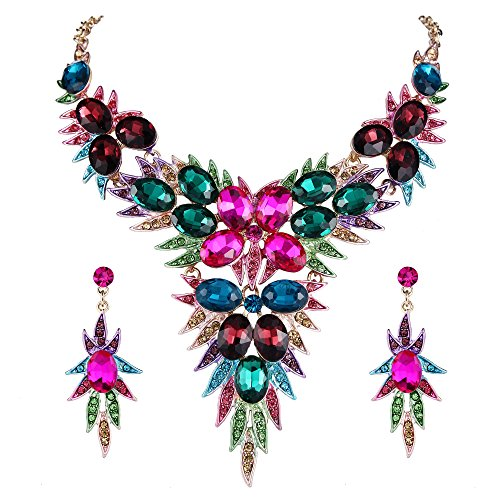 Floral Pendant Necklace Set - BriLove Gold-Toned Jewelry Set Women's Wedding Bridal Statement Necklace Dangle Earrings Set with Crystal Multi Oval-Shape Flower Leaf Colorful Multicolor
