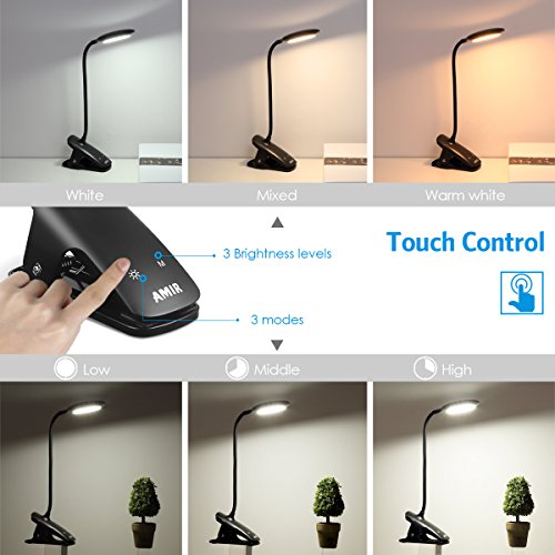 Case of 144 Packs, AMIR Clip Book Light, LED Reading Light with Touch Switch by AMIR (Image #3)