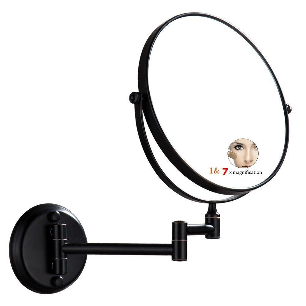 LeHang Two-sided Circular Mirror Dual Sided Wall Mount Makeup Mirror Oil Bronze Finish with 7-10X Magnification,LH1306 (7X)