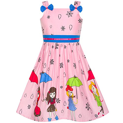 (Girls Dress Cartoon Dot Bow Tie Pink Summer Sundress Size 8)
