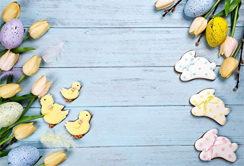 AOFOTO 7x5ft Easter Theme Wooden Plank Backdrop Eggs Rabbits Yellow Duck Floral Vinyl Background for Pictures Festival Celebration Family Events Best Wishes Background Studio Photo Prop