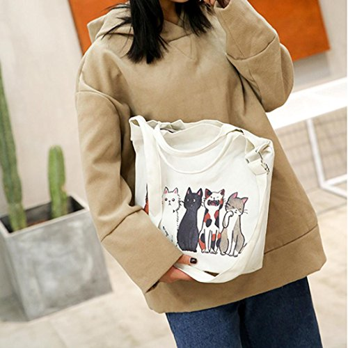Canvas Bag Cartoon Handbags Bag Shopping Beach Fashion Travel Casual Bags Cats Tote Femme Bag Printed Shoulder Large Women's Bags Messenger Bag Size E Tote wqnIfxICBz