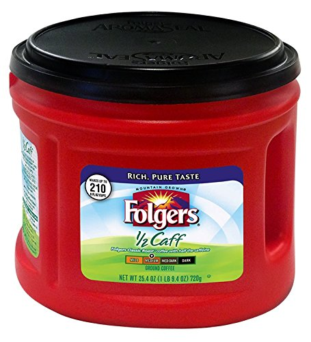 Folgers 1/2 Caff Ground Coffee, 25.4 oz