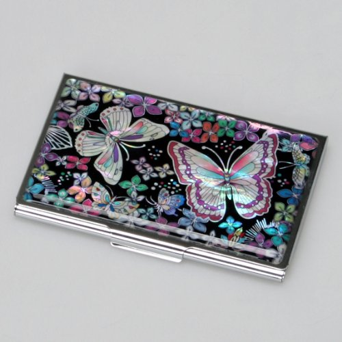 mother of pearl womens business credit name id card case cash metal stainless steel engraved slim money wallet with butterfly design amazoncouk kitchen - Business Card Holder For Women
