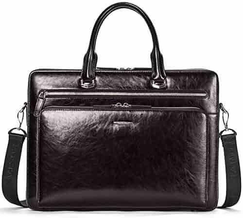 BOSTANTEN Leather Briefcase Shoulder 15.6