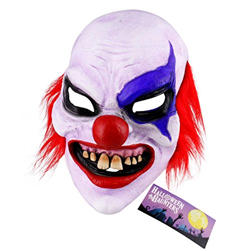 Halloween Haunters Scary Evil Latex Clown Mask - Creepy Face & Grin, Costume Party Prop - Clown Masks For Kids