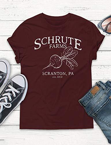 d137ac09 Nlife Women Schrute Farms Letter Print T-Shirt Short Sleeve Solid Color T- Shirt