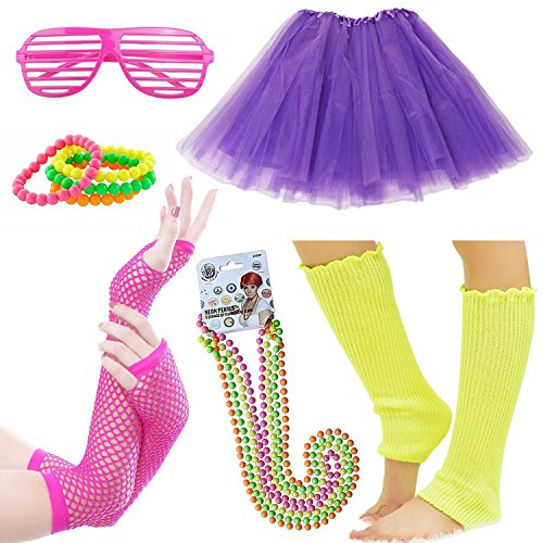 70s Themed Clothing (Womens 80s Costume Accessories Fancy Outfit for 1980s Party Tutu Skirt Neon Bracelets Sunglass Leg Warmers Gloves Pearls Necklace (A8))